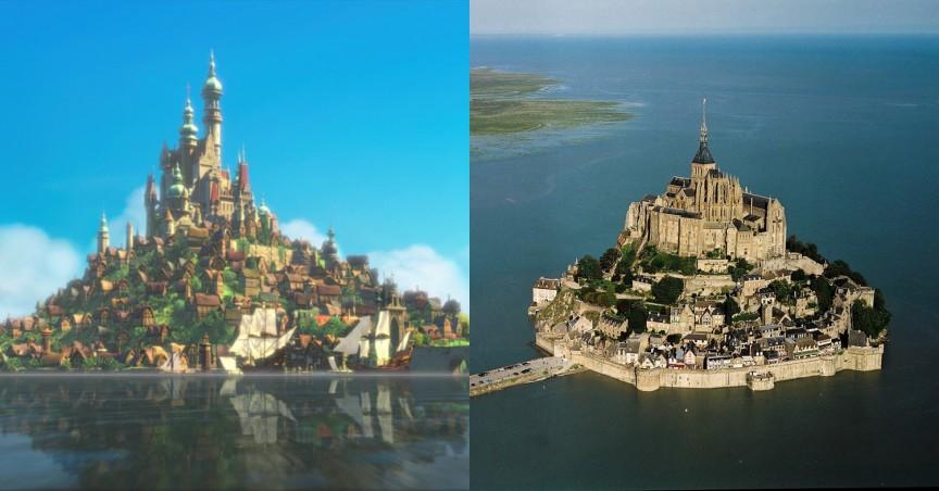 Королевский дворец в «Рапунцель: Запутанная история»: Мон-Сель-Мишель (Mont Saint-Michel) в Нормандии, Франция