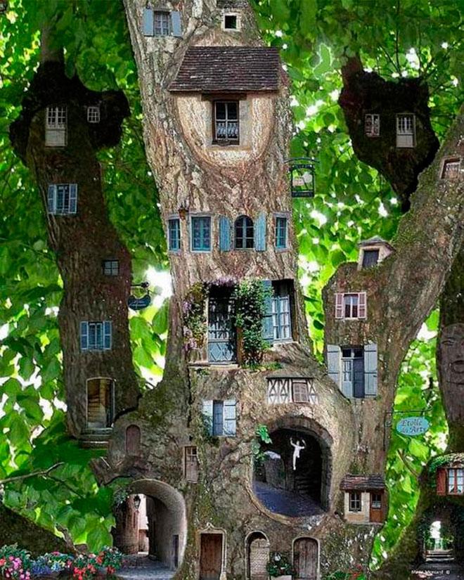 Здание, вырезанной в дереве